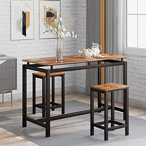Juego de mesa de bar con taburete, mesa de bar y sillas de madera de hierro, mesa de cocina y sillas, mesa alta y taburete de bar, restaurante, mesa alta de madera, 100 x 40 x 90 cm