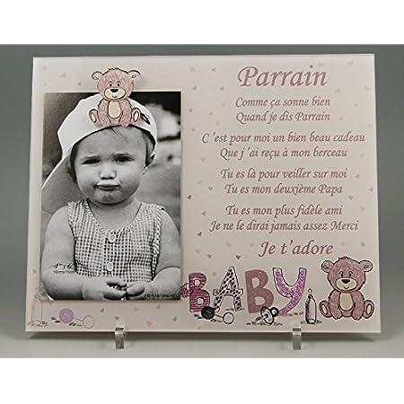 (KdFPrF) Cadre Photo - modèle Rose pour Parrain – (Cadeaux originaux pour Parrain Marraine - Baptême, Anniversaire, Noël.)