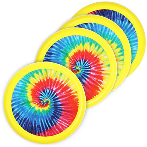 Blue Panda Outdoor Lawn and Beach Family Game Soft Flying Disk for Kids Yellow Tie Dye 8 Inches 4 Pack