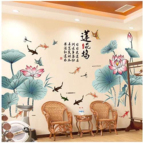 KBIASD Chinesische Art Lotus Flower Vinyl Wandaufkleber Modernes Poster Wohnzimmer Schlafzimmer Wohnkultur Abziehbilder Wandkunst Tapete 210x115cm