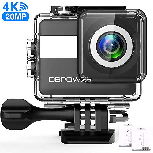 DBPOWER N6 Action Camera HD 4K 20MP WiFi Touch Screen, fotocamera subacquea intelligente 30 m, stabilizzazione EIS impermeabile, grandangolo 170°, Time Lapse, 2 batterie 1200mAh