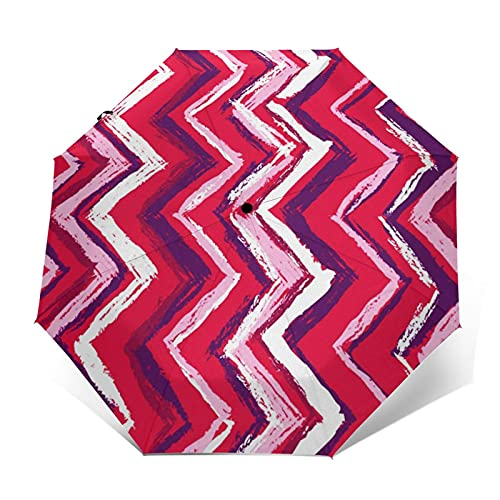 Regenschirm Taschenschirm Kompakter Falt-Regenschirm, Winddichter, Auf-Zu-Automatik, Verstärktes Dach, Ergonomischer Griff, Schirm-Tasche, Pink Broken Line Wachsmalstift