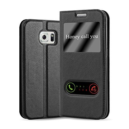 Cadorabo Hülle für Samsung Galaxy S6 Edge Plus - Hülle in KOMETEN SCHWARZ – Handyhülle im Standfunktion und 2 Fenstern (View Design) - Case Cover Schutzhülle Etui Tasche Book Klapp Style