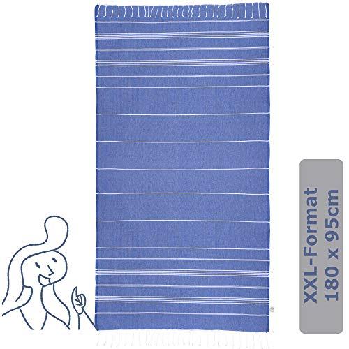 JuliJu XXL Duschtuch Blau - 95x180cm - Badetücher für Damen und Herren - 100% Baumwolle, dadurch hautverträglich, umweltfreundlich und nachhaltig- Ihr neues Liegetuch für den Sommer