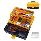 WEWLINE Portable Multi-function Tool Box, Plastic Toolbox with Organizer Tray and Divider,Household Folding Three-layer Tools Box Organizer