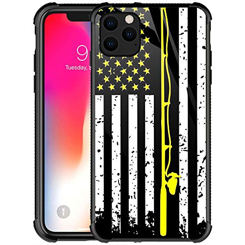 iPhone 11 Case,9H Tempered Glass iPhone 11 Cases for Girls Women Boys,Retro USA Flag Fishing Pattern Design Shockproof Anti-Scratch Glass Case for Apple iPhone 11