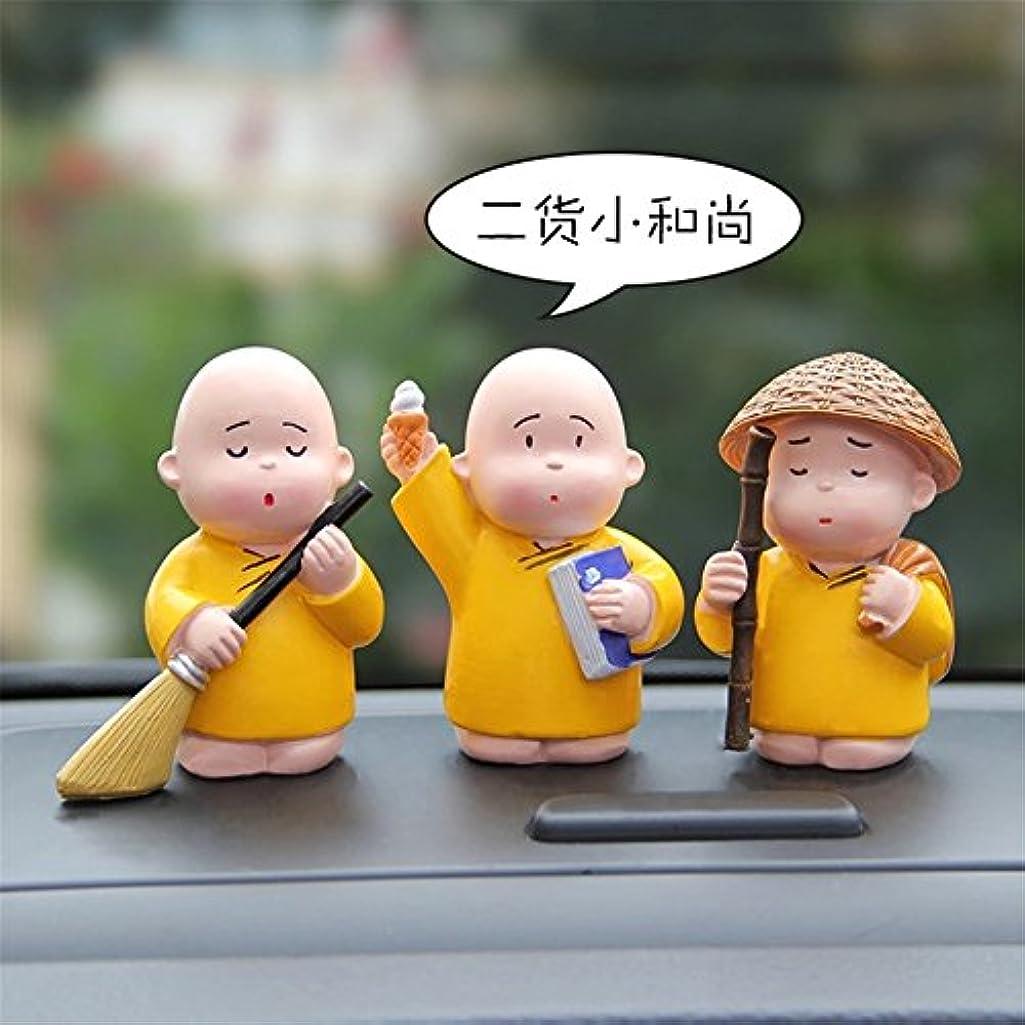 3 PCS/Set Cute Car Home Cartoon Little Monk Doll Decoration Funny Safe Resin Ornaments