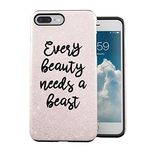 Matching Every Beauty Needs A Beast Couple Girlfriend And Boyfriend Gifts for Girlfriend Cover Compatible with iPhone 7 Plus / 8 Plus 2 Pezzi Doppio Strato PC + TPU Custodia Protettiva Robusta Case