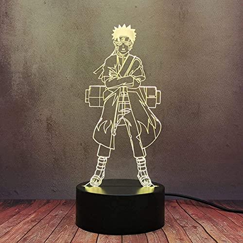 Uzumaki Naruto Sasuke Modelo 3D Luz De Noche Led Anime Japonés Manga 7 Colores Mesa Para Niños Y Bebés Luz Táctil Dormitorio Ilusión Para Dormir Lámpara De Escritorio Cumpleaños De Vacaciones Regalo