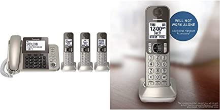 $149 » PANASONIC Corded/Cordless Phone System with Answering Machine and One Touch Call Blocking – 3 Handsets (Champagne Gold) & ...
