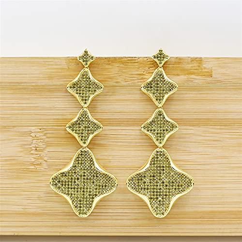 ACEACE Pendientes Colgantes de Oro, aretes de joyería de Borla de Oro Rosa, Fiesta de Bodas for Damas Elegantes y Hermosos Accesorios (Metal Color : 3)