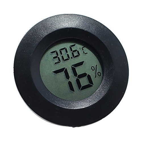 VEVICE 1Mini Digital Temperatur Feuchtigkeit Messgerät Thermometer Hygrometer Wasserdicht LCD Grad Celsius Display für Innen und Außen, ABS, Schwarz, 4.5cmx4.5cmx1.55cm