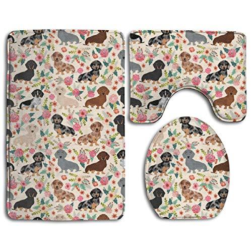 Odelia Palmer Bad Teppiche Sets 3 Stück Dackel Wurst Hunde Blumen Blumen Kontur Matte Toilettendeckel Abdeckung U-förmig