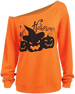Whycat Halloween Oversize Sweaters for Women, Off Shoulder Jumper with Evil Pumkin, Bright Orange Long Sleeve Plus Size Top