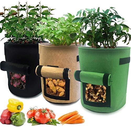 ECOMP Pflanzen Tasche, 3 Stück Pack Kartoffel Pflanzsack mit sichtbarem Fenster und Griffen, 38 Liter Vliesstoff Gartenpflanzbehälter für Kartoffeln, Karotten, Tomaten