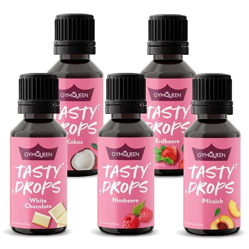 GymQueen Tasty Drops 5x30ml, Kalorienfreie, Zuckerfreie und Fettfreie Flavour Drops - Aroma Tropfen zum Süßen von Lebensmitteln, Geschmackstropfen ohne Künstliche Farbstoffe, Sommer Mix