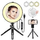 Anillo de Luz LED - BESTOPE Anillo de Luz de 8 Pulgadas Luz de Maquillaje con Trípode de Espejo y...