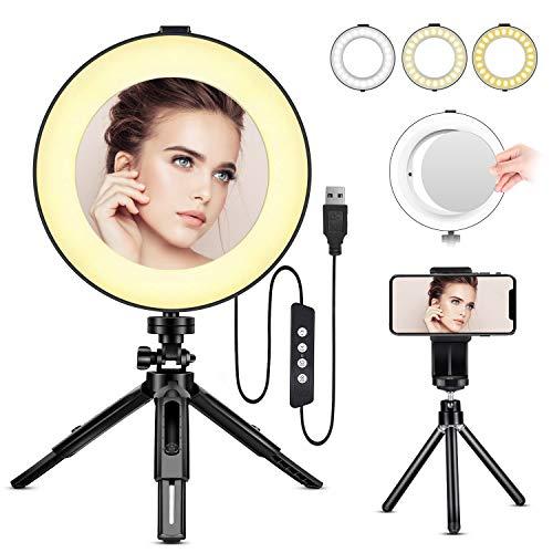 Anillo de Luz LED - BESTOPE Anillo de Luz de 8 Pulgadas Luz de Maquillaje con Trípode de Espejo y Soporte para Teléfono para YouTube y Selfie Video Makeup, 3 Temperaturas de Color y 10 Modos de Brillo