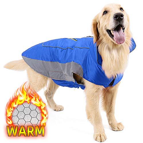 犬服 秋冬 防寒着 コート ジャケット 小型犬 中型犬 大型犬向け ドッグウェア 冬 大型犬 ベスト 裏地 熱反射生地 ハーネス穴 リード穴あり 簡単マジックテープ脱着 反射テープ付き(ブルー2XL)