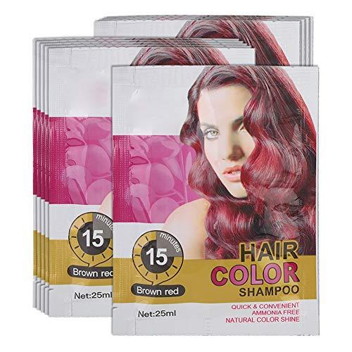 Temporäres Haarfarbenshampoo, Professionelles Einweg-Haarfärbeshampoo in Braun, Rotkastanie und Gold für jede Haarqualität(rotbraun)