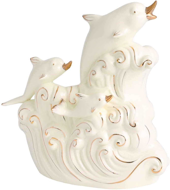FENDOUBA FENDOUBA FENDOUBA Skulptur Delphin Dekoration Weinhalter Weinregal Regal Handgemalte Keramik Statue Figur Bar Home Kitchen Decor Handwerk Ausgezeichnetes Geschenk 025