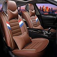 カーシートカバーオールインクルーシブ、車のユニバーサルフォーシーズンズフルセットシートカバー高度なレザー素材 (Color : Brown)