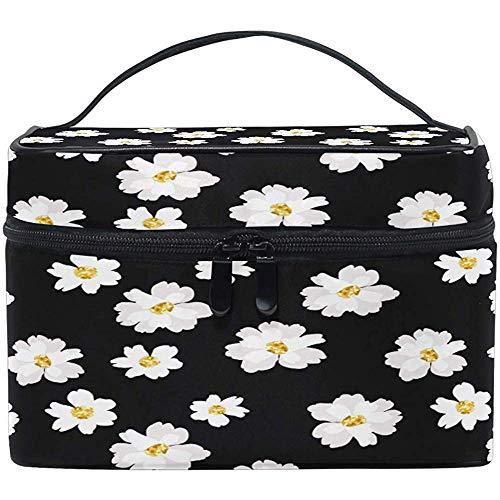 Daisy Floral Cosmetic Bag Spring Flower Makeup Bag Travel Cosmetic Brush Bag Storage Organizer