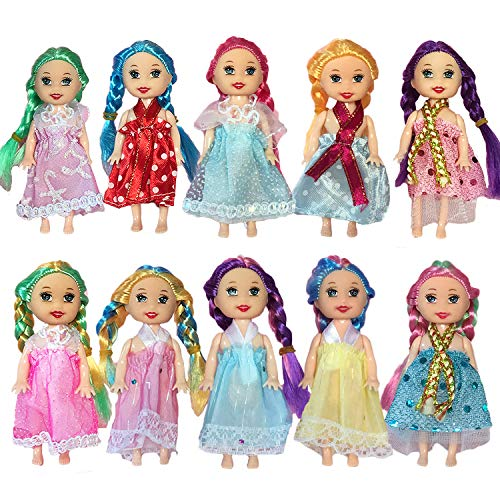 Huang Cheng Toys Pack of 10 4'' Mini Doll with Colorful Clothes Costume …