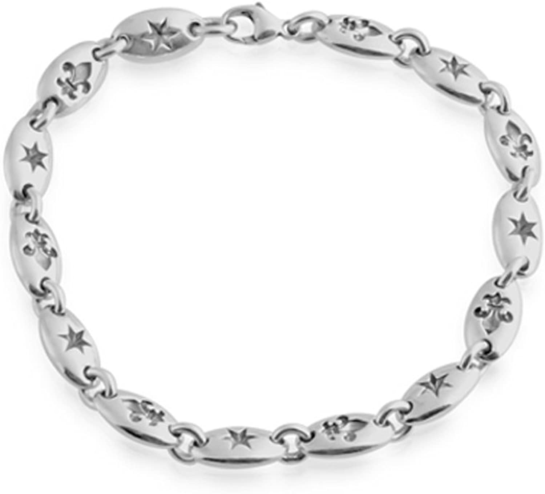 Azaggi Sterling Silver HandcraftedStar and Fleur de Lis Chain Bracelet