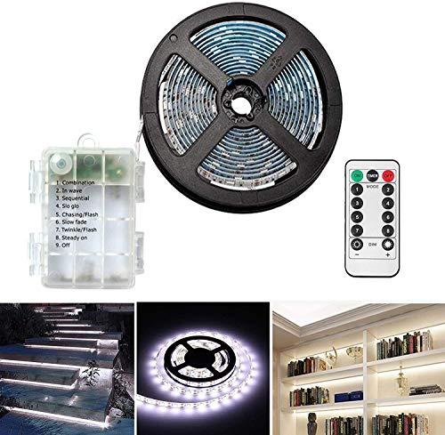 Tiras de LED a pilas 3 metros, 90 ledes, con mando a distancia, temporizador, 8 modos, regulable, autoadhesivo para TV, cocina, armario, dormitorio, decoración de casa (3 m/90 L, blanco frío)