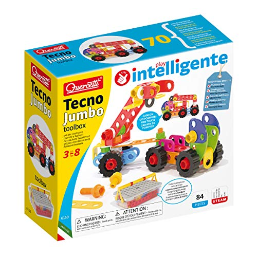 Quercetti - Tecno Jumbo Toolbox - 84 Piece Building Set with Storage Case, for Kids Ages 3 years +