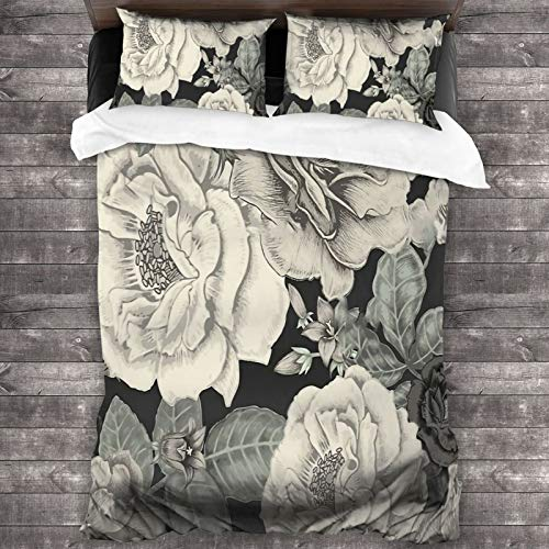 Cream Flowers On Black 100% Washed 3 Piece Bedding Sets,Simple Home Textile Bedroom Decoration 86'X70'