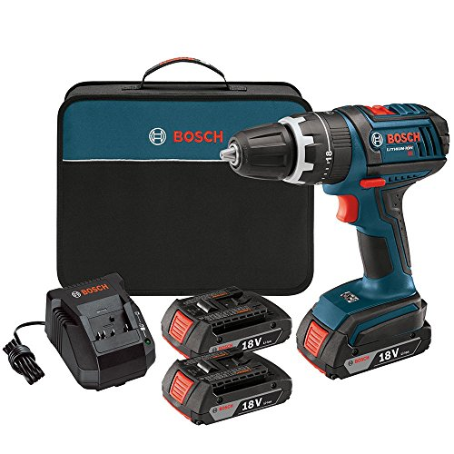 Bosch HDS18102RT 18V Cordless Lithium-Ion Compact Tough 1/2 in. Hammer Drill Driver with 2 Slim Pack HC Batteries (Renewed)