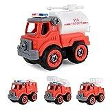 Giow Take Apart Toys, Juego de Juguetes para Camiones de Bomberos, ensamblaje de Bricolaje, Dibujos Animados para Empujar y Llevar, vehculos de construccin para nios de 3 aos en adelante