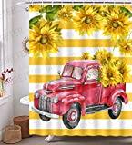 GURETER Vintage Red Truck Shower Curtain Retro Truck with Sunflower Yellow Stripes Bathroom Curtains Decor with 12 Hooks Waterproof Polyester 72x72in YLLSGE579