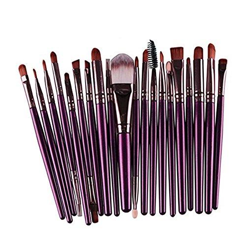 Emorias 20pcs / set pinceaux de maquillage professionnel brosse cosmétique pour Fondation fard à paupières Purple + Café