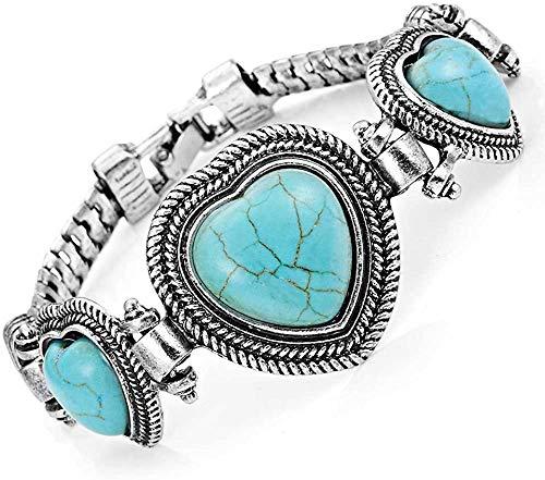 Einzigartiges, türkise Herzen Vintage Schmuck Manschetten Armband Legierung (Silber Farbe)