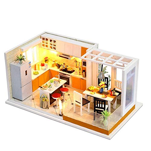 WWHSS -BAU Modellbau Bausätze Puppenstuben Spielzeug 10 Arten DIY Puppenhaus mit Möbeln Kinder Erwachsene Miniatur-Holzpuppenhaus Bildung (Color : Pink)