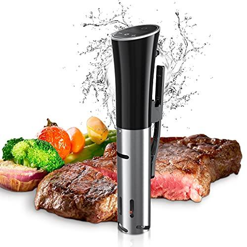 Sandoo Sous Vide , 1200W Slow Cooker Circolatore di Immersione , Slow Cooker con LED Schermo Touch, impermeabilità IPX7, Controllo della Temperatura e Timer, Roner Cucina Professionale HA1097