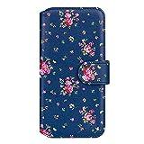 32nd Floral Series 2.0 - Funda Tipo Libro de Piel Sintetica con diseño Floral para Apple iPhone 13 (6.1'), Carcasa de Cuero diseñada con Cartera y Cierre Magnetico - Rosas Vintage en Añil