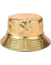 Joylife Metallic Bucket Hat Trendy Fisherman Hats Unisex Reversible Packable Cap, Gold, One Size-Large