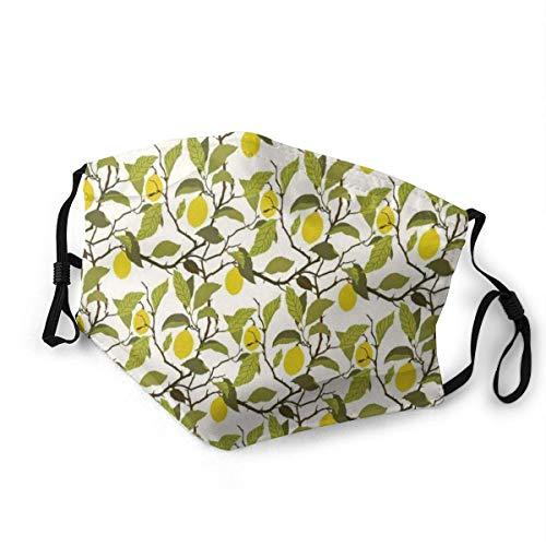 Staubdichter Schal, blütenloser Zitronenbaum mit Reifen Früchten und gelappten Blättern Illustration Weicher, haltbarer Gesichtsmundschal für Männer Frauen