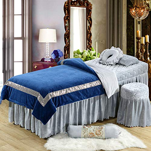 WSYK Supewold Massage Bed Sheet, Kosmetik-Bed Sheet Cover Spa Massage Bett Tisch Bezug Blatt Mit Loch Beauty Kosmetik Massage Schwamm Spannbetttuch,003,70cm×190cm