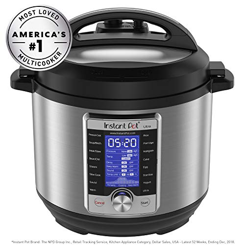 Instant Pot Ultra 10-in-1 Electric Pressure Cooker, Sterilizer, Slow Cooker, Rice Cooker, Steamer, Sauté, Yogurt Maker, Cake Maker, Egg Cooker, and Warmer, 8 Quart, 16 One-Touch Programs