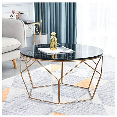 YTSFT Modern Living Room Sidetable Coffee Table Marble Home Wrought Iron Sofa Table Round Narrow Table Nightstand For Bedroom Fashion Design Furniture-Golden Black_Diameter 60X Height 45Cm
