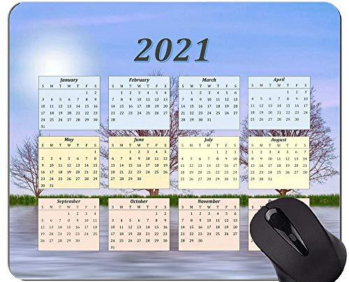 Spezielles Design 2021 Kalender Mauspad, Nature Tree Lake Komfortable Mausmatte für Spiele und Büro