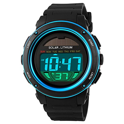 Herren Sport Digital Uhren - 50 m Wasserdicht Sport Armbanduhr mit Wecker Stoppuhr, läuft mit LED-Hintergrundbeleuchtung Digitaluhren für Männer von Smalody