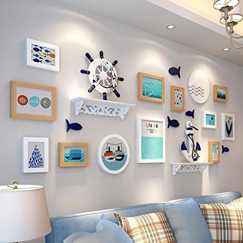 Cadre décoratif Méditerranéenne Composite solide en bois cadre photo ensembles de mur de 12, en trois dimensions cadre photo ensembles muraux ensemble de peintures décoratives (Couleur : B)
