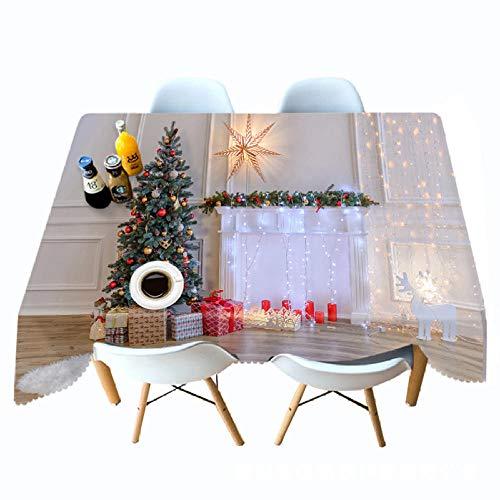 LJJYF Mantel Impreso en 3D Luz Blanca Chimenea navideña Manteles Personalizados-W_228cm * L_335cm,Manteles Decoración de Mesa de Jardín