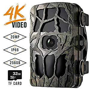 Blusmart Trail Camera, 4K 20MP IP66 Waterproof Game Camera with 20M Night Flash Range, 0.2S Trigger Speed, Supports 256G TF Card, 32GB TF card included, Wildlife Observation & Home Monitoring